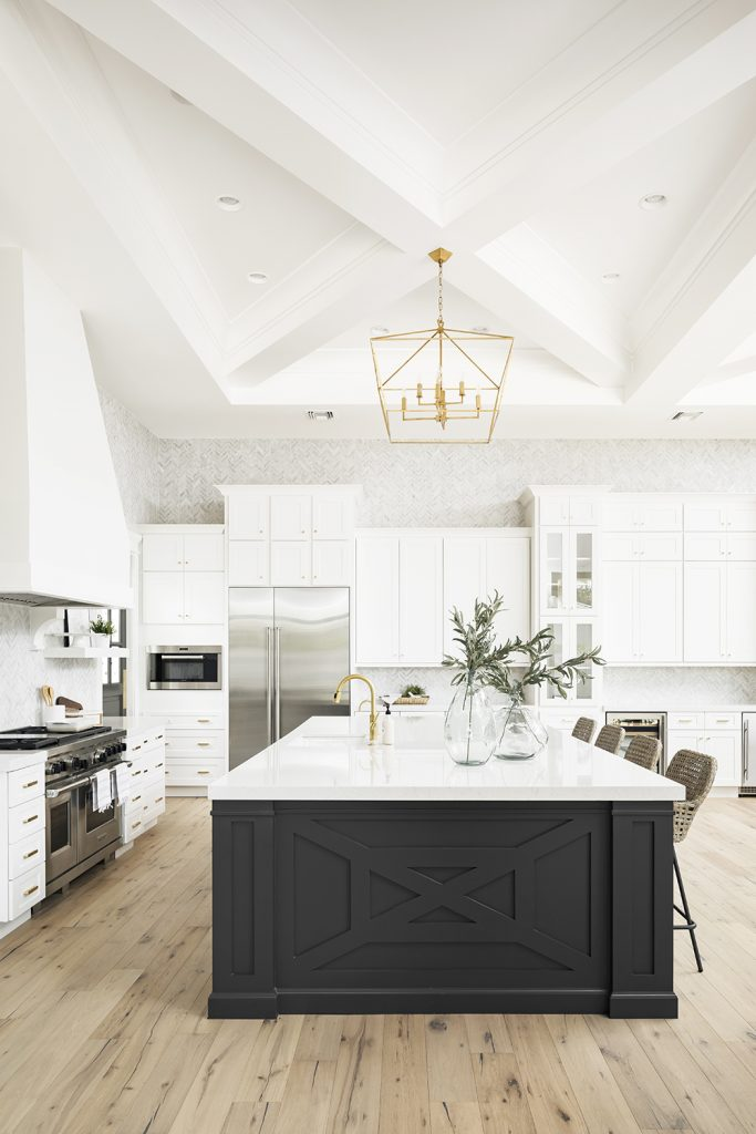 Kitchen custom molding island coffered ceiling