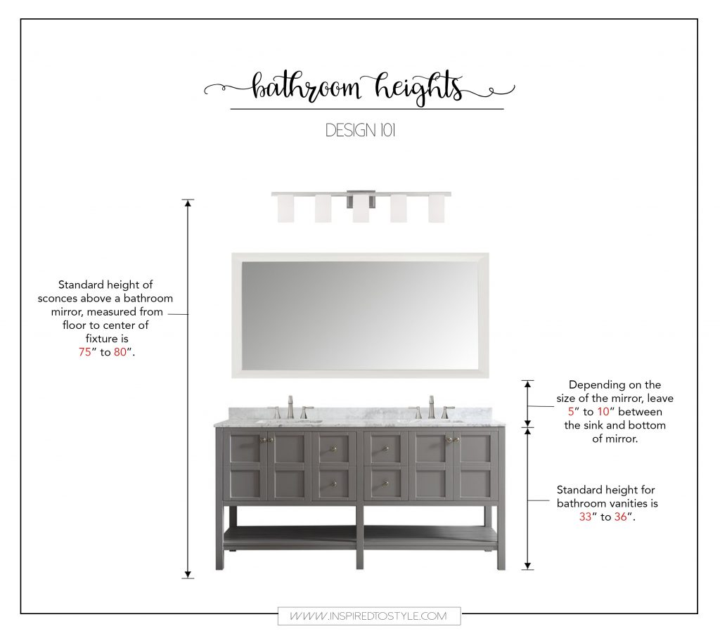 How High Should Vanity Lights Be Hung : Design 101: How High To Place Your Bathroom Fixtures - Inspired To Style