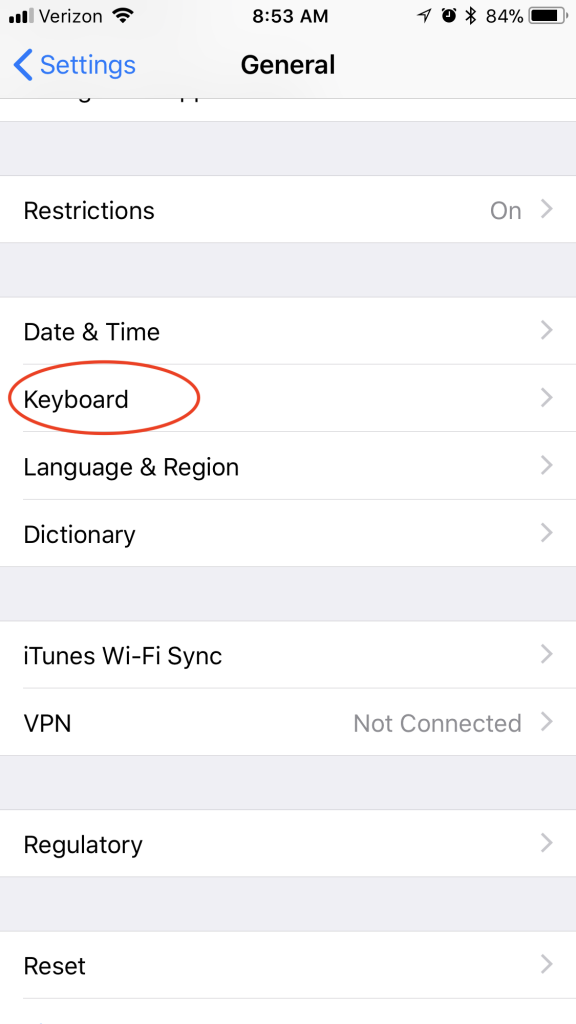 screenshot of settings on iphone showing keyboard circled