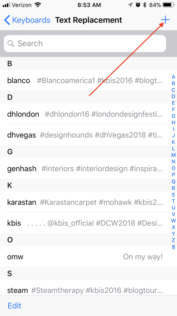 screenshot of settings on iphone showing text replacement with arrow to plus symbol