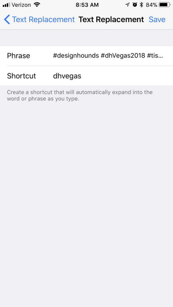 screenshot of settings on iphone showing phrase and shortcut filled in