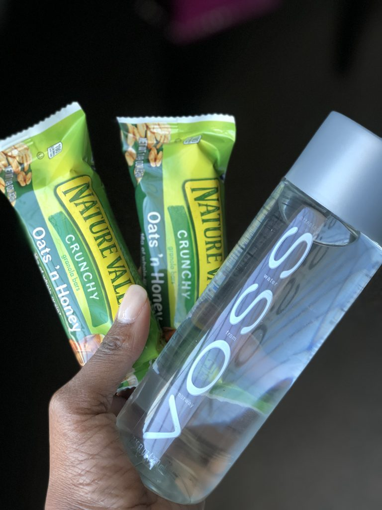 nature valley oats n' honey and voss water bottle