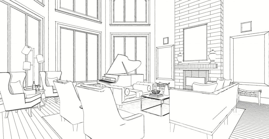 Arianne Bellizaire Interiors Design Project Line Drawing