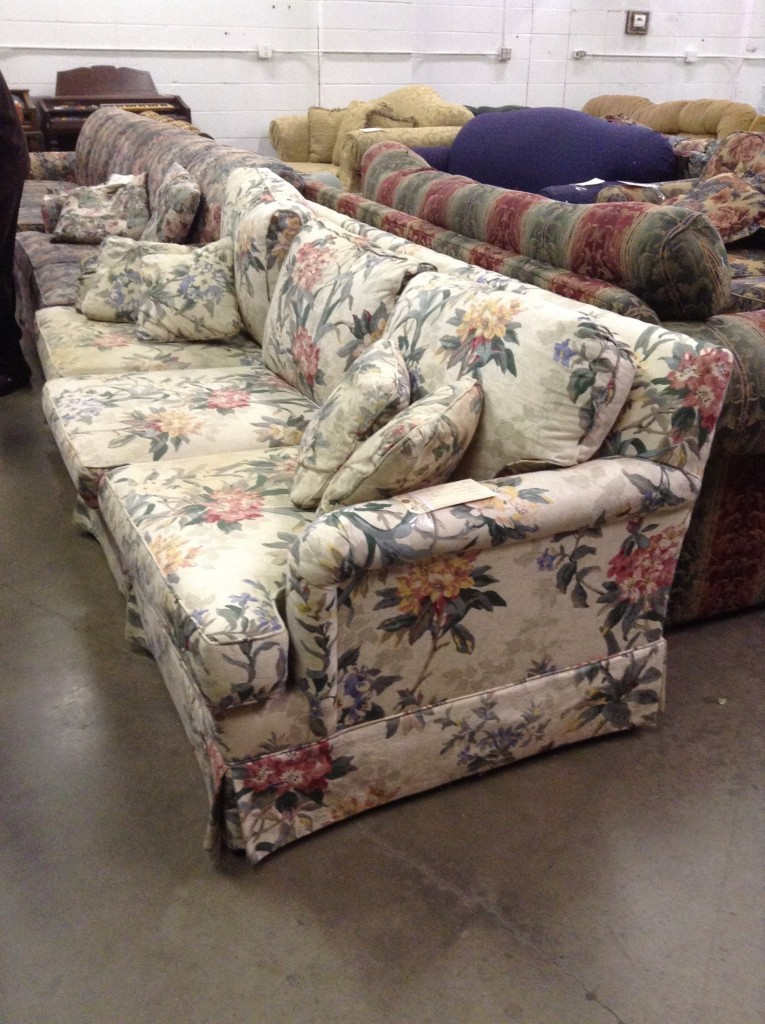 recycled reupholstered sofa