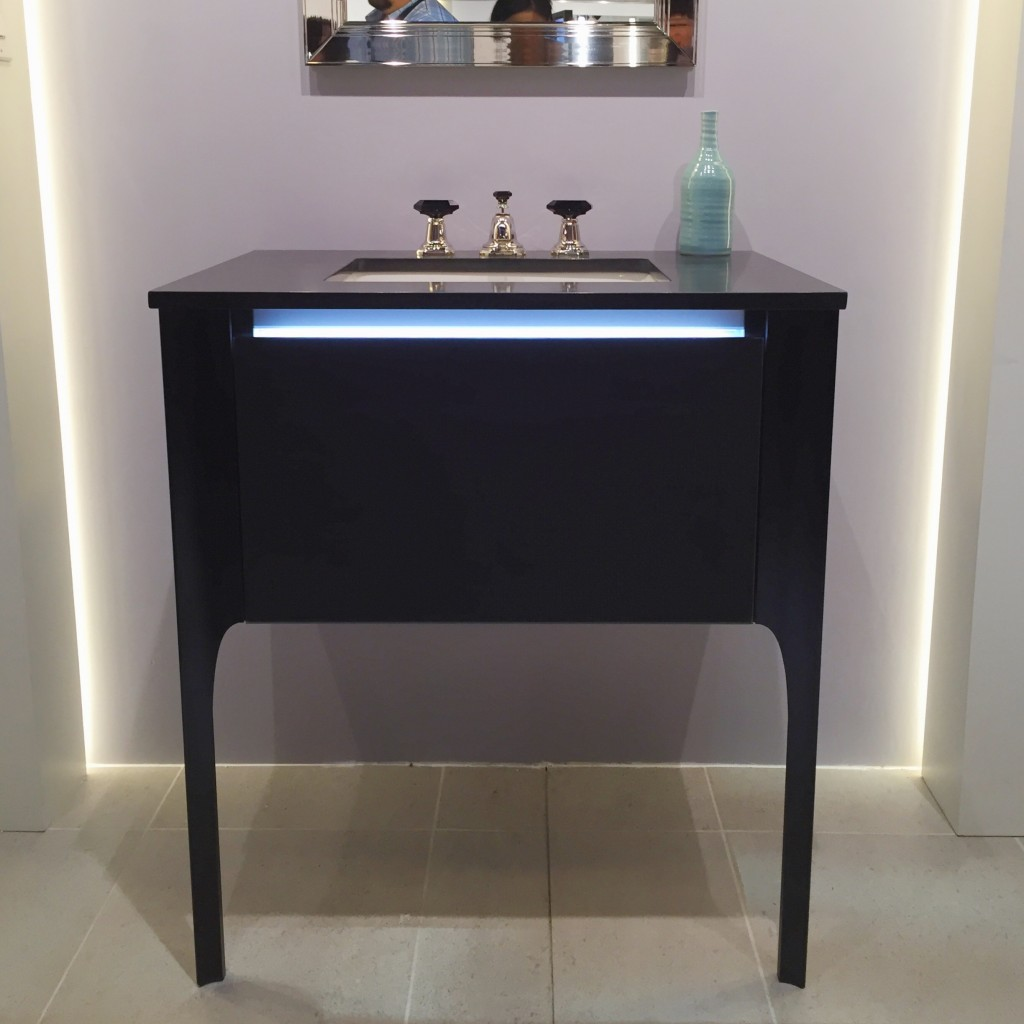 this robern vanity is ultra chic and full of drama