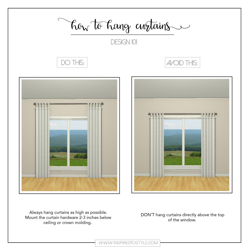 how to hang curtains How to Hang Curtains   Inspired To Style how to hang curtains